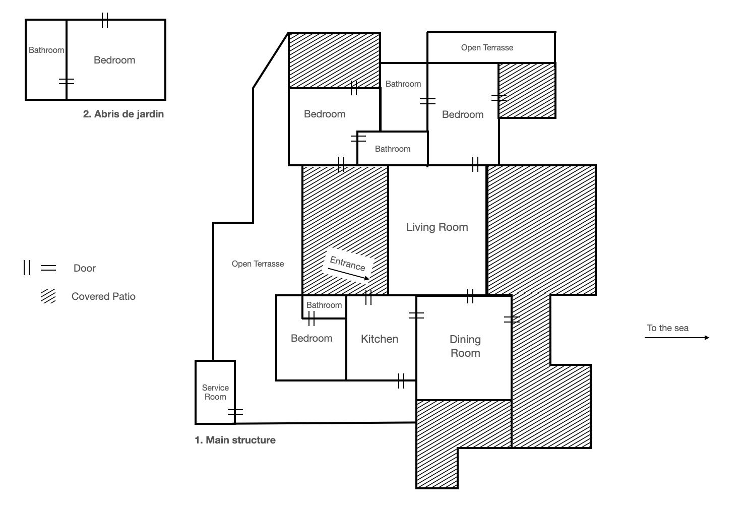 Mappa della Villa Cala di Zeri Nord